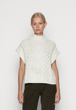 BUTTON UP VEST WITH CABLE STRUCTURE - Jumper - pistachio shell