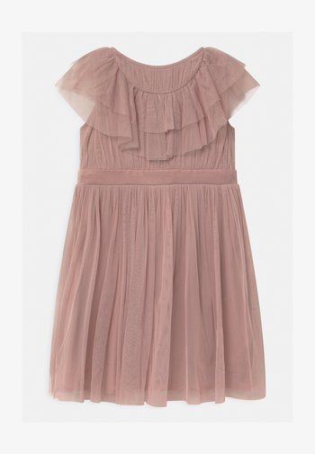 RUFFLE BIB WITH BOW - Cocktailjurk - frosted pink
