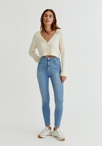 PULL&BEAR - WITH VERY HIGH WAIST - Jeans Skinny Fit - mottled light blue - 1