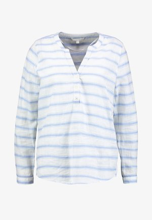 STRIPED HENLEY BLOUSE - Pusero - white/light blue