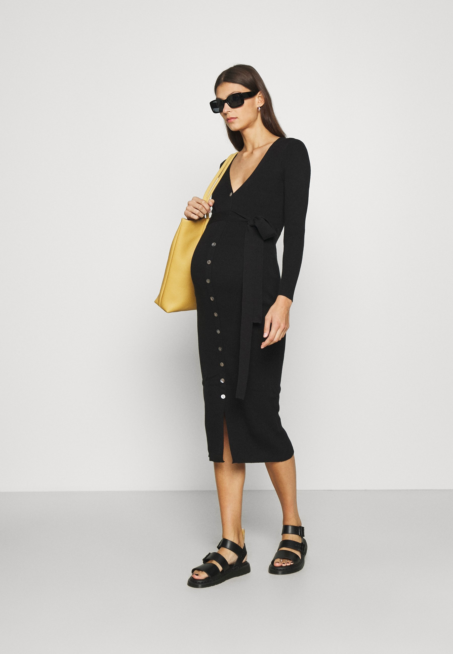 Women SKINNY FIT LONG SLEEVE MIDI DRESS WITH V-NECK AND WAIST - Jumper dress