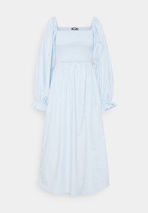 LONG SLEEVE SHIRRED DRESS - Day dress - blue