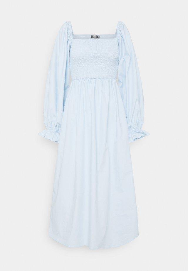 LONG SLEEVE SHIRRED DRESS - Korte jurk - blue