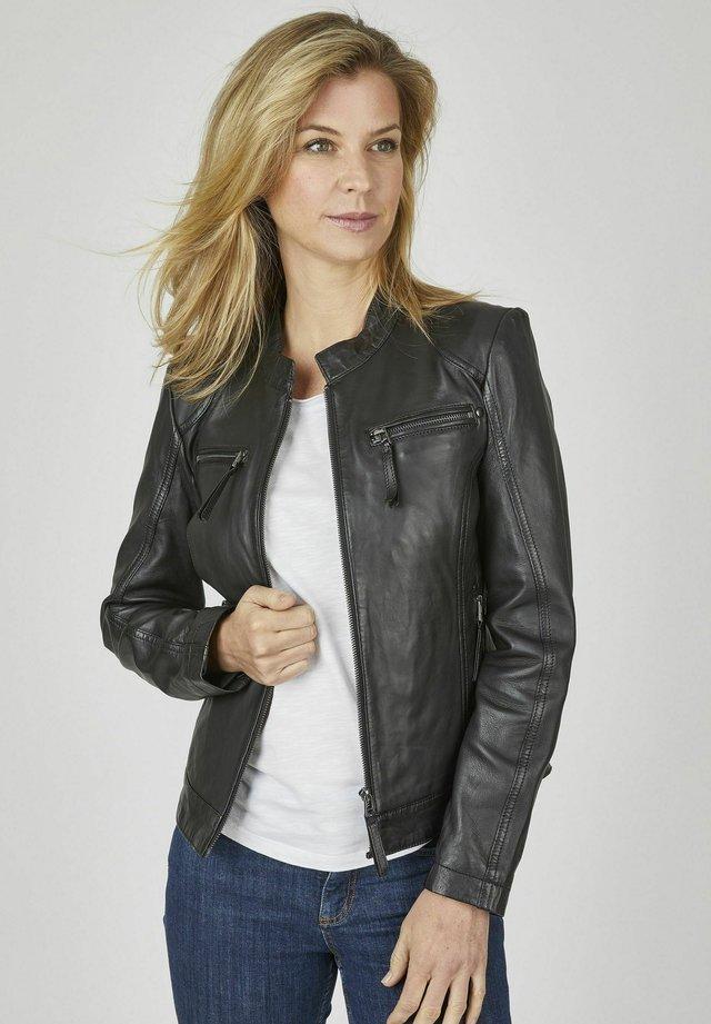 MIT PASPELN  - Leather jacket - schwarz