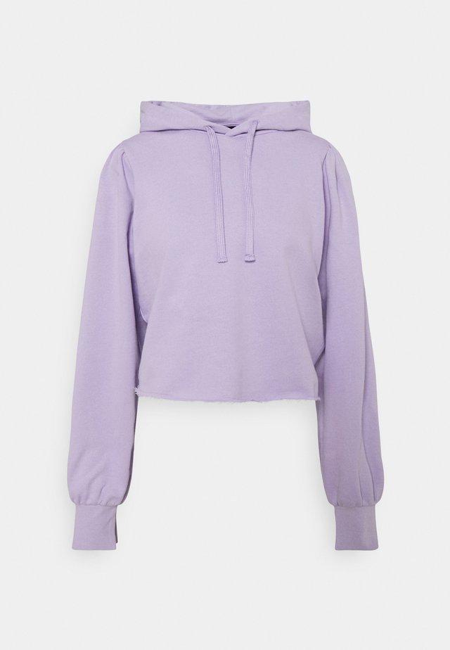 CROPPED PUFF SLEEVE HOODIE - Felpa - purple