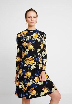 FLORAL FIT AND FLARE - Sukienka z dżerseju - black