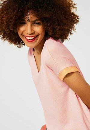 Print T-shirt - mottled yellow, light pink