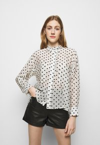 maje - CATHERINA - Button-down blouse - blanc/noir - 0