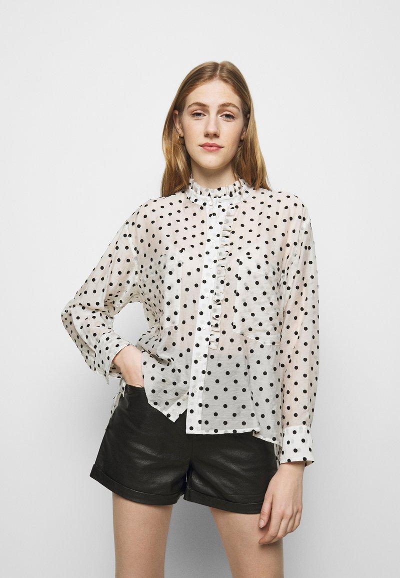 maje - CATHERINA - Button-down blouse - blanc/noir