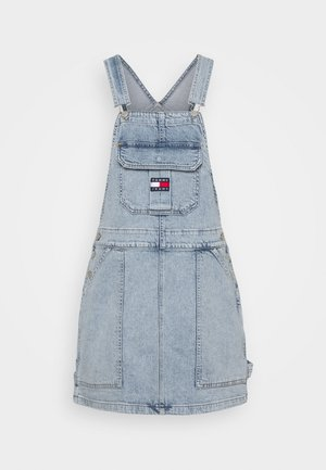 CARGO DUNGAREE DRESS - Jeanskjole / cowboykjoler - light-blue denim