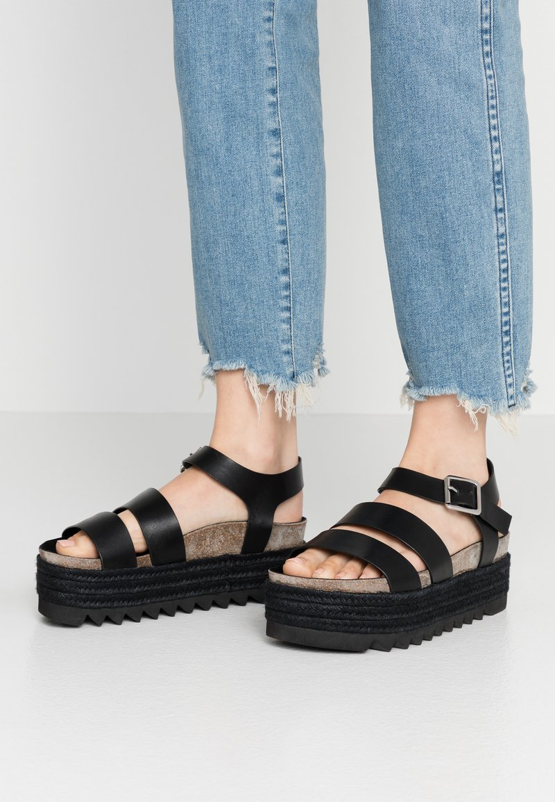 Even&Odd - LEATHER  - Espadrilles - black
