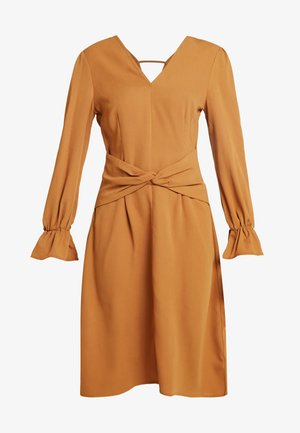 DRESS WITH FRONT TWIST DETAIL AND GATHERED CUFFS - Day dress - mustard