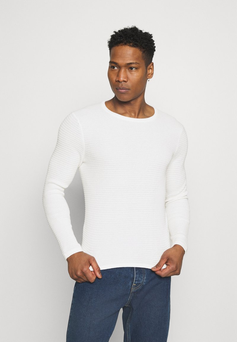 Only & Sons - ONSLEXON LIFE STRUCTURE CREW NECK - Neule - star white