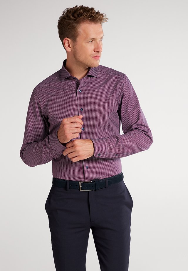 SLIM FIT - Shirt - rot/weiss