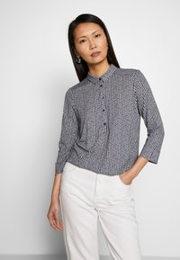 Marc O'Polo - BLOUSE 3 4-SLEEVE PLACKET WITH COLLAR - Blusa - multi/night sky - 0