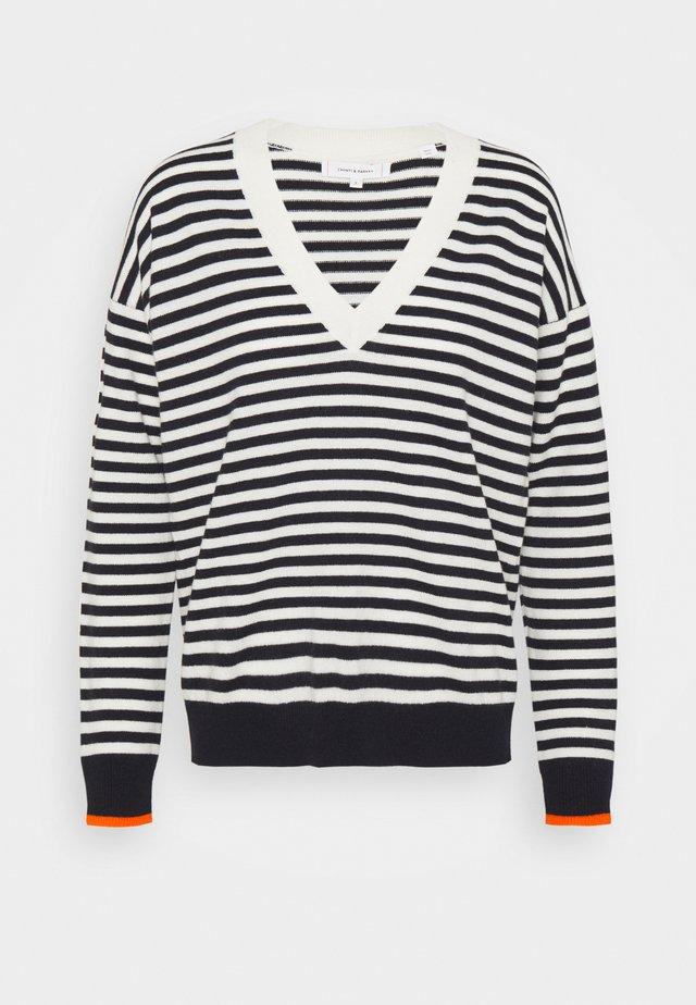 STRIPE WITH CONTRAST NECK - Pullover - cream/navy/orange
