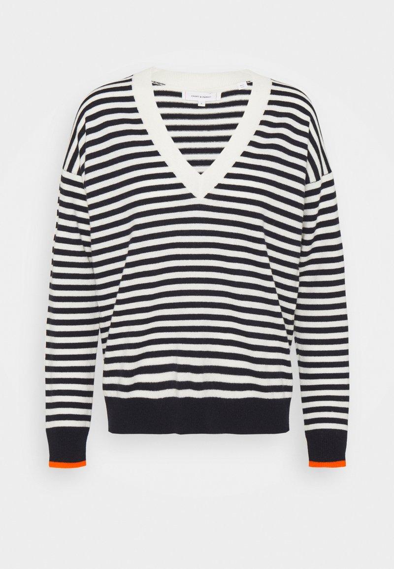 CHINTI & PARKER - STRIPE WITH CONTRAST NECK - Pullover - cream/navy/orange