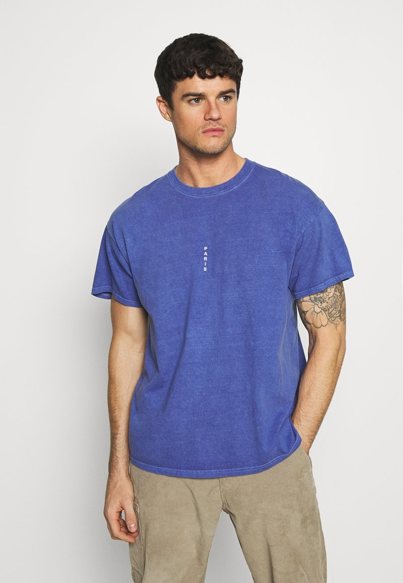 Topman - PARIS - T-shirt basic - blue