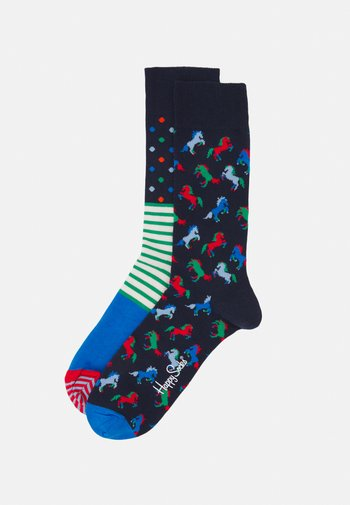 2 PACK HORSE AND STRIPES DOTS SOCK UNISEX - Chaussettes - multi
