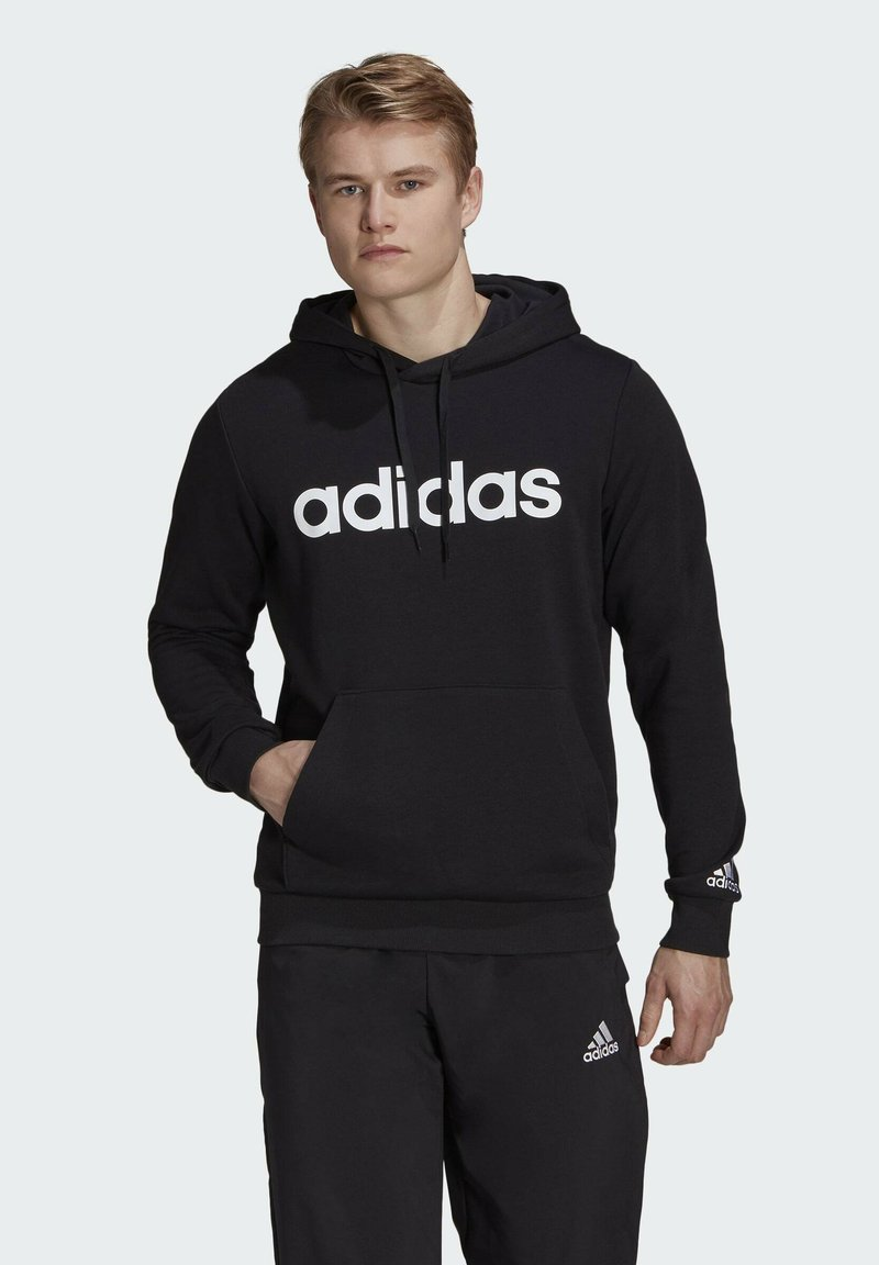 adidas Performance - ESSENTIALS FRENCH TERRY LINEAR LOGO HOODIE - Luvtröja - black