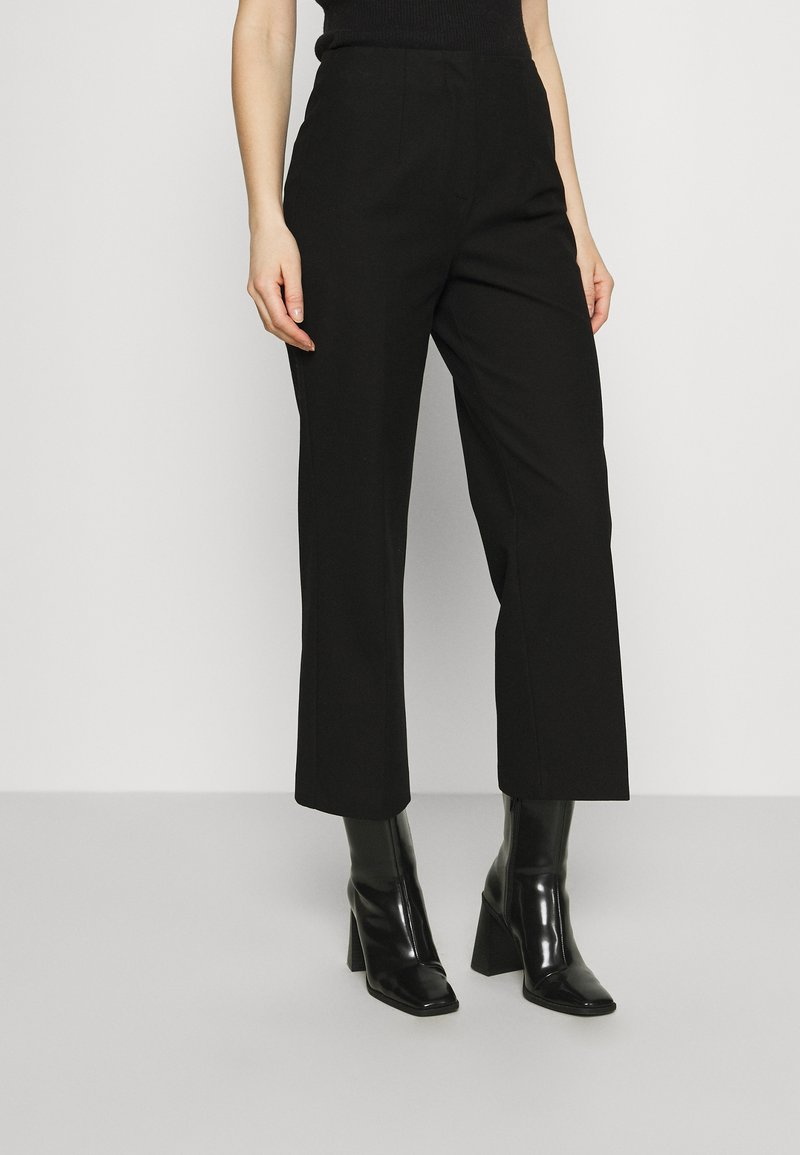 Selected Femme - SLFLINA WIDE ANKLE PANT - Trousers - black