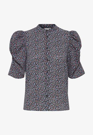 Button-down blouse - black, print