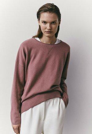 MIT RUNDAUSSCHNITT  - Sweatshirt - neon pink