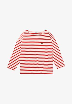 Long sleeved top - white/red