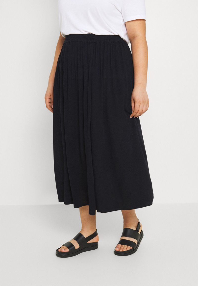 ONLY Carmakoma - CARTRIB LIFE LONG SKIRT SOLID - A-line skirt - black