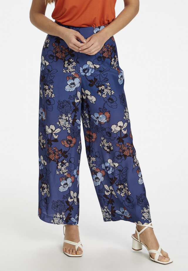Trousers - flora print marlin blue