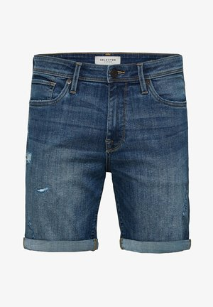 SUPERSTRETCH - Jeans Shorts - medium blue denim