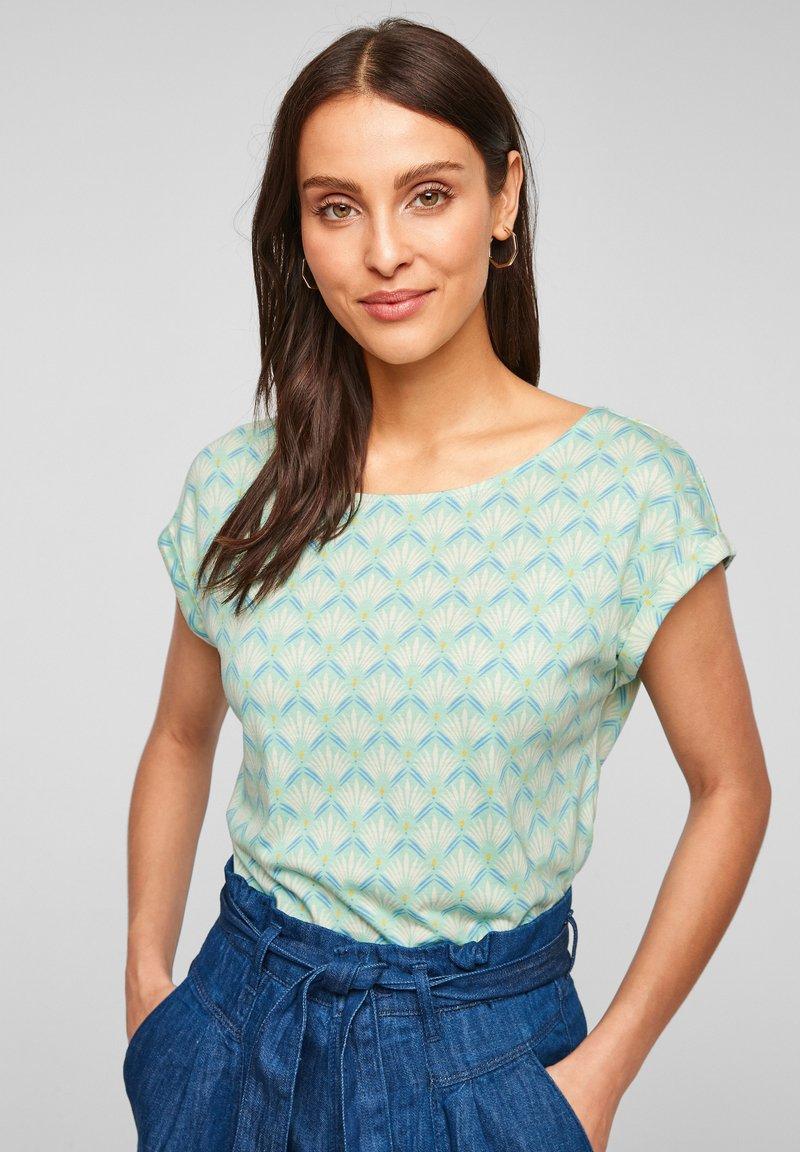 s.Oliver - Print T-shirt - ocean green aop