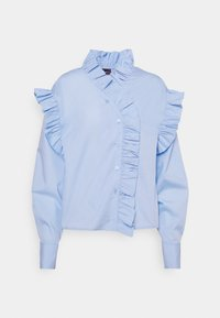 Gina Tricot - DINAH FRILL BLOUSE - Button-down blouse - blue bell - 4