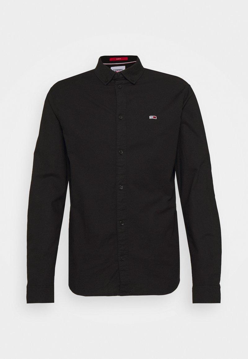 Tommy Jeans - SLIM STRETCH OXFORD - Skjorta - black