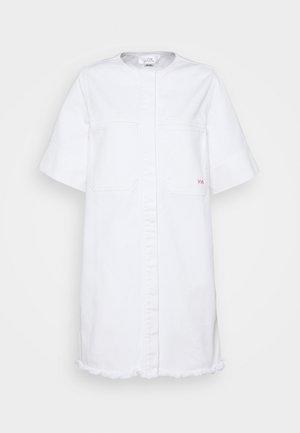 FRAYED HEM MINI DRESS - Denimové šaty - white