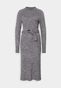 Who What Wear - TIE WAIST DRESS - Pletené šaty - black marl - 4