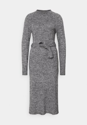 TIE WAIST DRESS - Strikket kjole - black marl