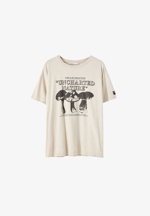 T-shirt con stampa - mottled beige