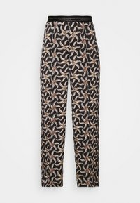 Scotch & Soda - PRINTED WIDE LEG PANT WITH SPECIAL ELASTIC WAISTBAND - Trousers - black - 3