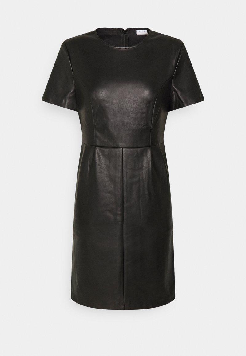 Vila - VIJAFFI COATED DRESS - Kjole - black
