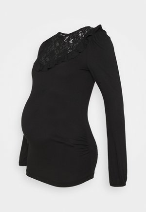 INSERT FRILL  - Long sleeved top - black
