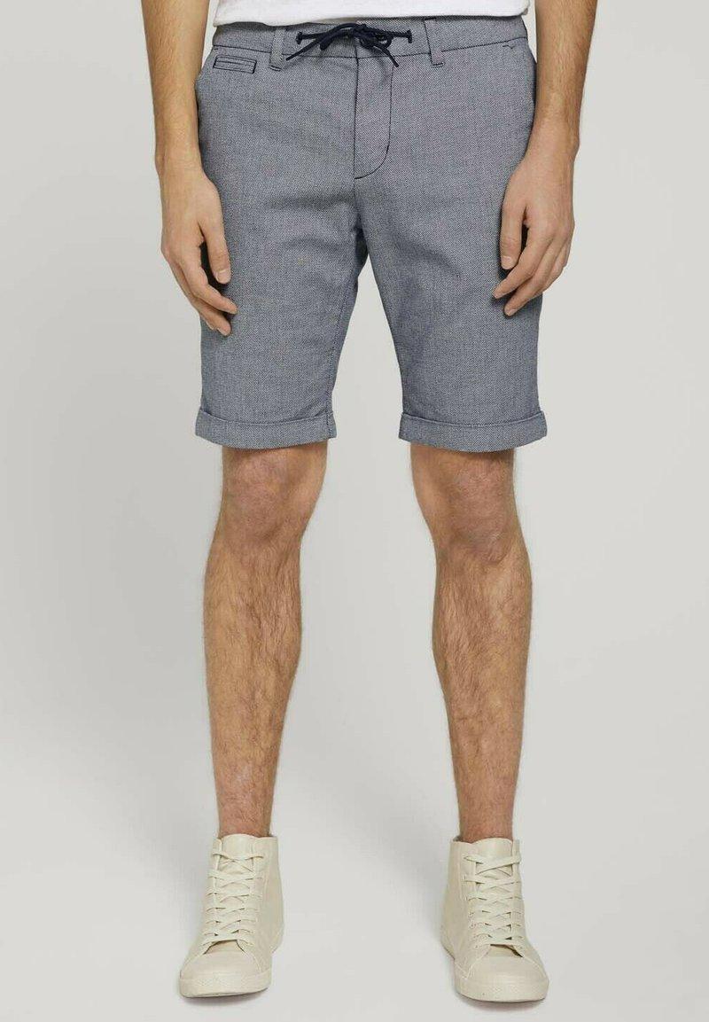 TOM TAILOR DENIM - Shorts - navy white dobby yarn dye