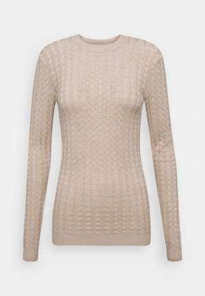 POINTELLE JUMPER - Sweter - light tan melange