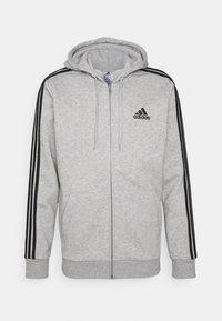 3 STRIPES FLEECE FULL ZIP ESSENTIALS SPORTS TRACK JACKET HOODIE - Zip-up sweatshirt - medium grey heather