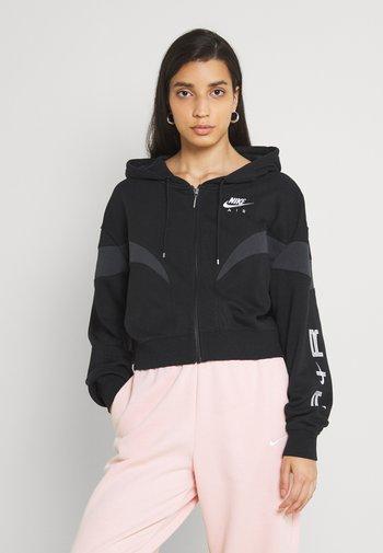 AIR HOODIE - Zip-up sweatshirt - black/dark smoke grey/white