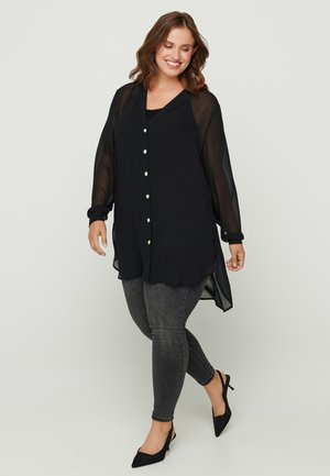 Button-down blouse - black