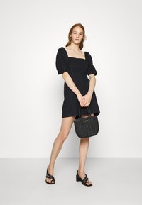 Abercrombie & Fitch - SMOCKED MINI - Day dress - black - 1