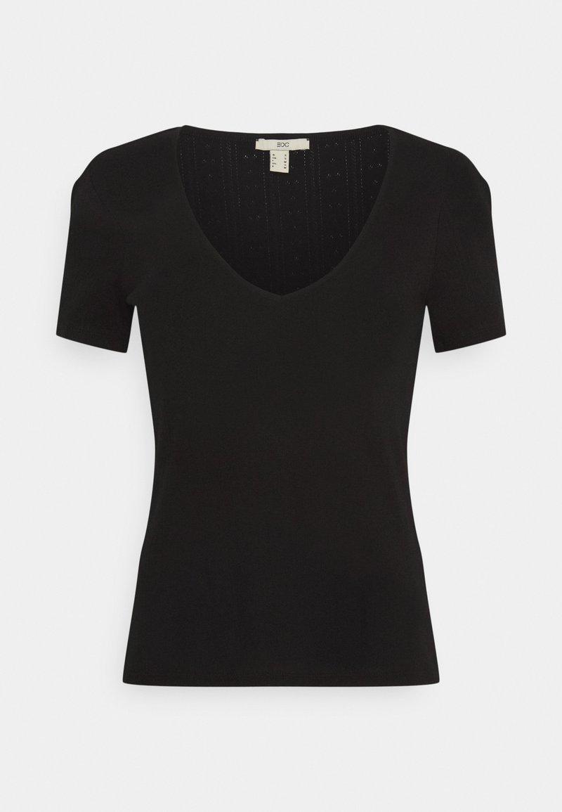 edc by Esprit - POINTELLE - Print T-shirt - black