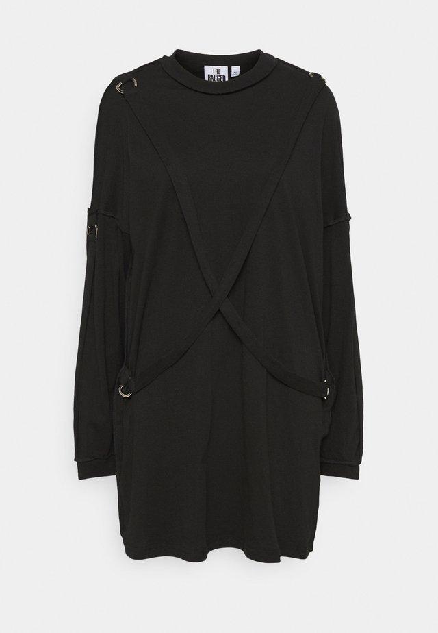 SKATER DRESS STRAP DETAIL AND D-RINGS - Jersey dress - black