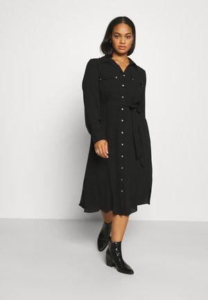 UTILITY MIDI DRESS - Shirt dress - black